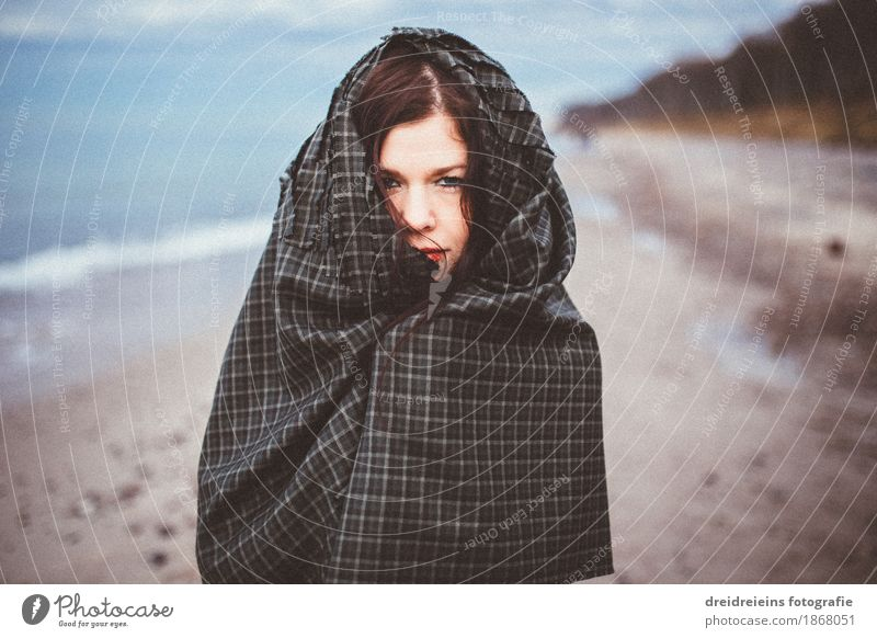 cloaked. Lifestyle Style Beach Human being Feminine Woman Adults Fashion Cape Headscarf Observe Looking Elegant Exotic Hip & trendy Uniqueness Cold Retro