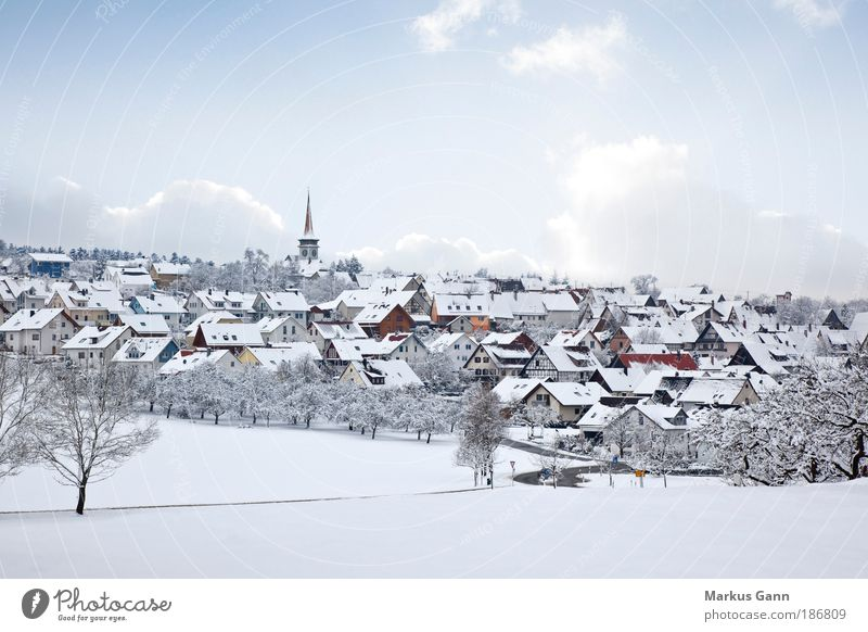 Village in the snow Winter Snow Nature Landscape Sky Ice Frost House (Residential Structure) Detached house Church Building Bright Peace Tree Clouds