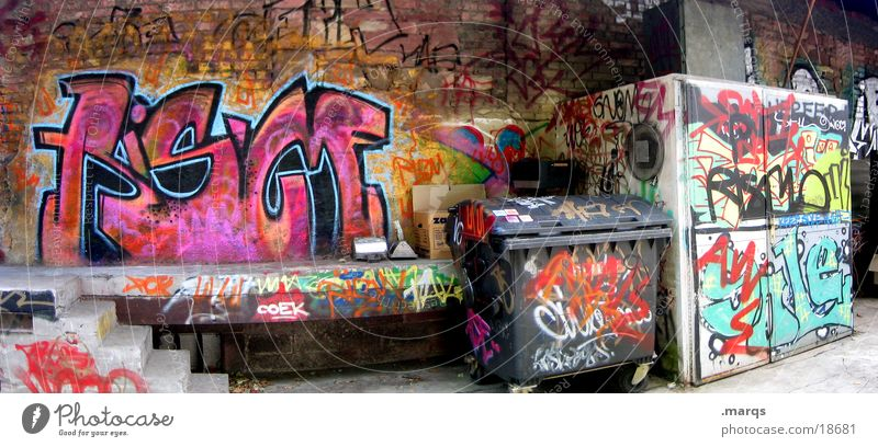 backyard Backyard Multicoloured Tagger Wall (building) Facade Trash container Typography Derelict Dirty Panorama (View) Street art Graffiti Wide angle Abstract