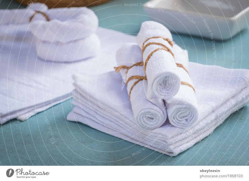 Rolled up white spa towels Lifestyle Style Design Art Artist Clothing Adventure Colour photo Multicoloured Close-up Detail Macro (Extreme close-up) Morning Day
