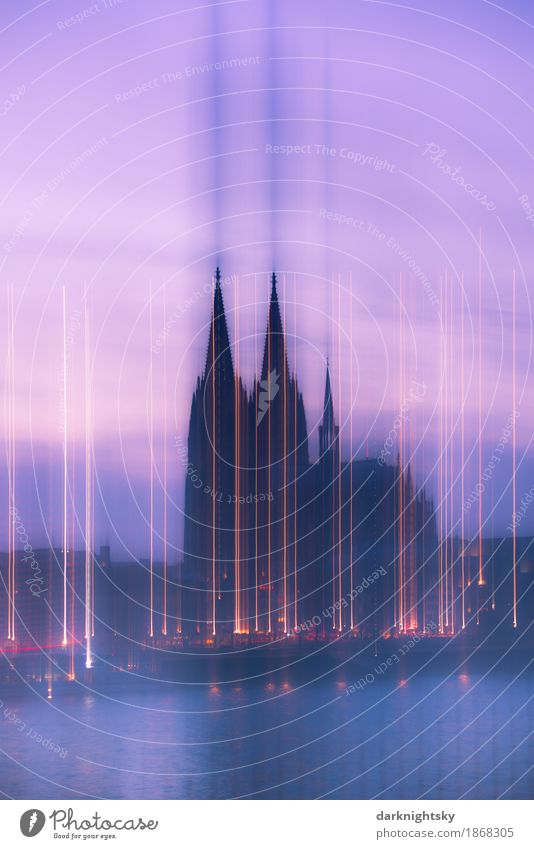 Cologne Cathedral at dusk, long time exposure with effect from movement Rhine Middle Germany North Rhine-Westphalia Town Downtown Old town Skyline Church Dome