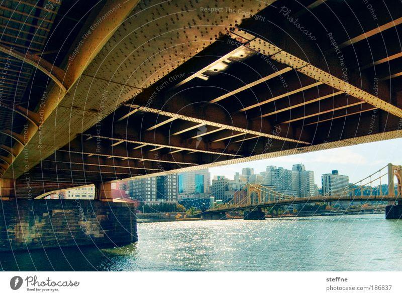 under the bridge River bank Pittsburgh USA Port City Downtown Skyline Bridge Steel Loneliness Town Colour photo Exterior shot