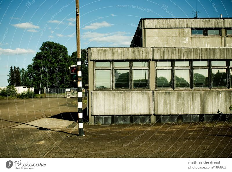 OLD TRUCK WEIGHING STATION Sky Clouds Summer Beautiful weather Industrial plant Factory Manmade structures Building Architecture Facade Window Roof Dark