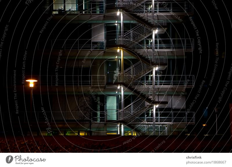 Stairs at the office building at night Bank building Industrial plant Building Architecture Window Gray Black Trade Colour photo Exterior shot Night