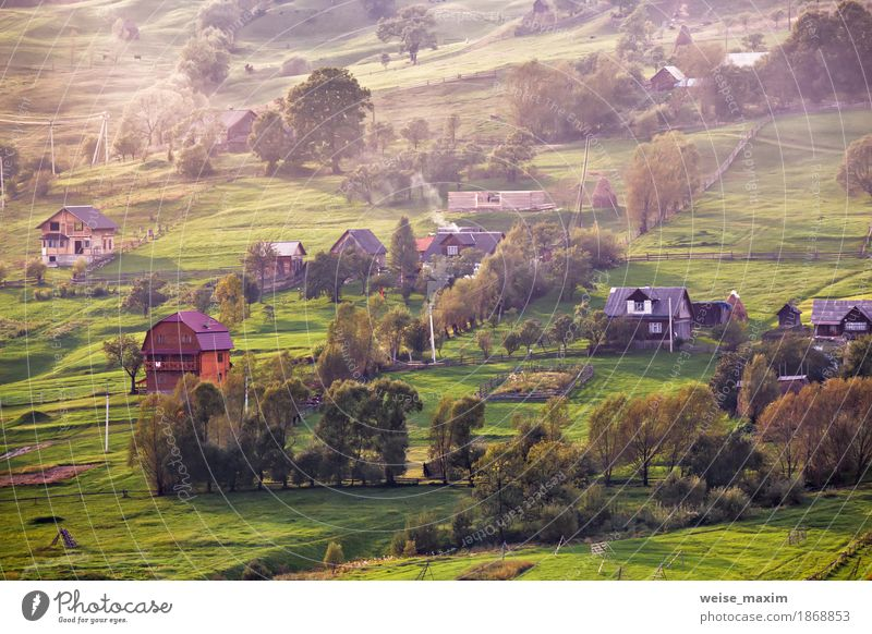 Alpine village in mountains. Smoke and haze Vacation & Travel Tourism Trip Far-off places Freedom Mountain Hiking House (Residential Structure) Environment