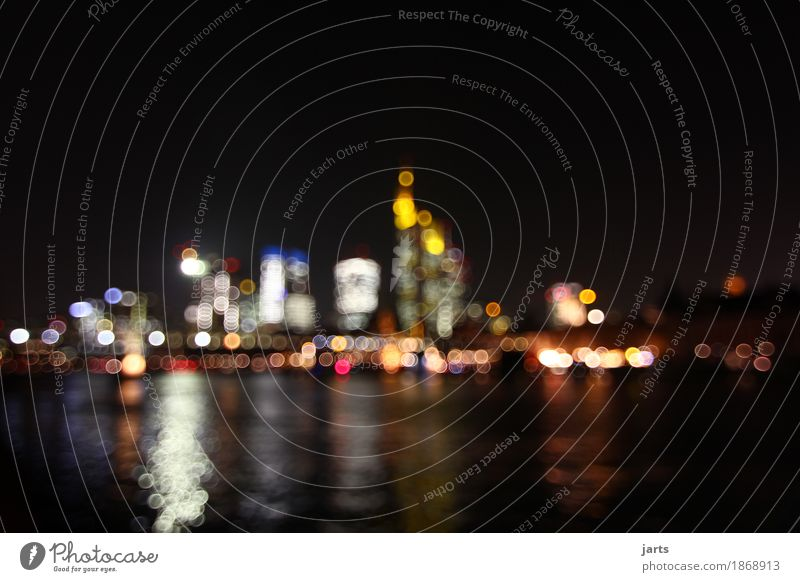 city lights River Frankfurt Town Downtown Skyline House (Residential Structure) High-rise Bank building Illuminate Fantastic Large Modern Luxury
