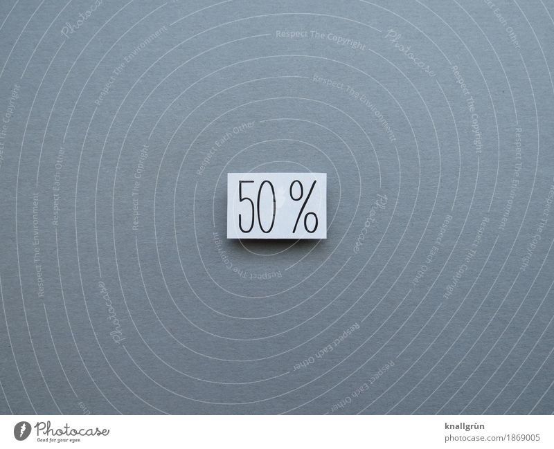 50% Characters Signs and labeling Percent sign Communicate Sharp-edged Gray Black White Emotions Moody Curiosity Contentment fifty-fifty Half Digits and numbers