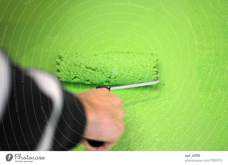 Second coat Human being Masculine Arm Hand 1 Art Artist Painter Wall (barrier) Wall (building) Painting (action, work) Authentic Exceptional Green Black White
