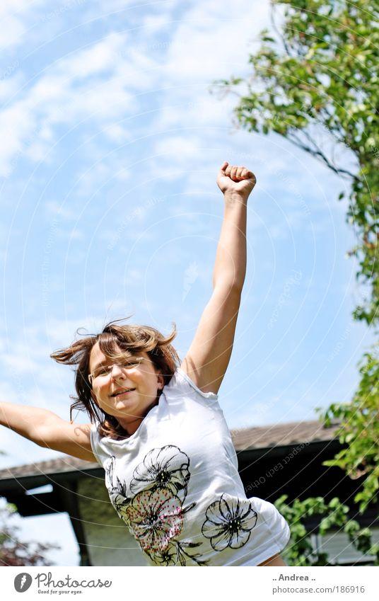 Sky Blue Young woman Joy Freedom Happy Jump Leisure and hobbies Arm Success Happiness Joie de vivre (Vitality) Upward Euphoria Positive