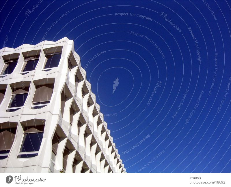 blue and white Building Window Vanishing point Architecture Sky Corner Perspective Gloomy Blue