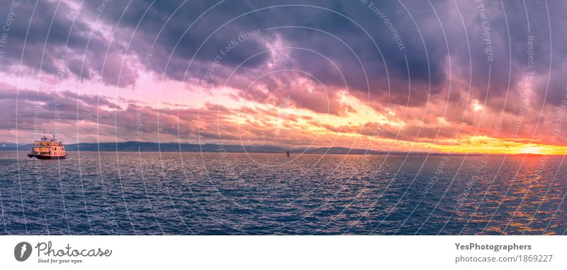 Bodensee lake panorama at sunset Joy Vacation & Travel Adventure Cruise Entertainment Nature Sky Clouds Sunrise Sunset Lake Transport Watercraft Blue Colour