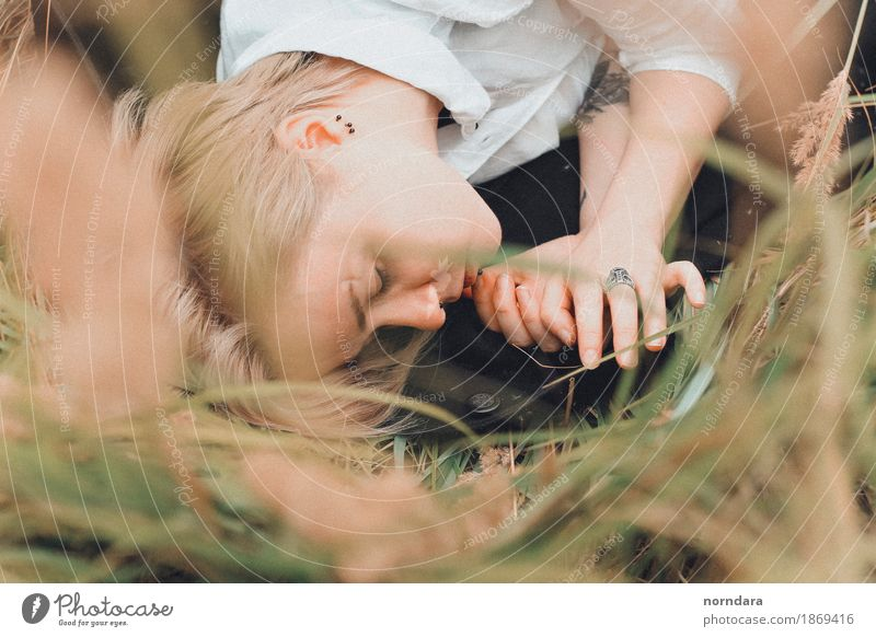 closed eyes Androgynous Young woman Youth (Young adults) Young man Skin Grass Rye Rye field Meadow Field Jewellery Blonde Short-haired Cry Compassion Calm Fear