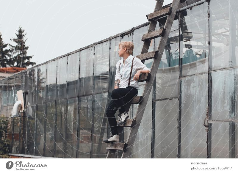 sitting on the stairs Androgynous Young woman Youth (Young adults) Young man Man Adults Fashion Shirt Pants Suspenders Footwear Blonde Short-haired Looking