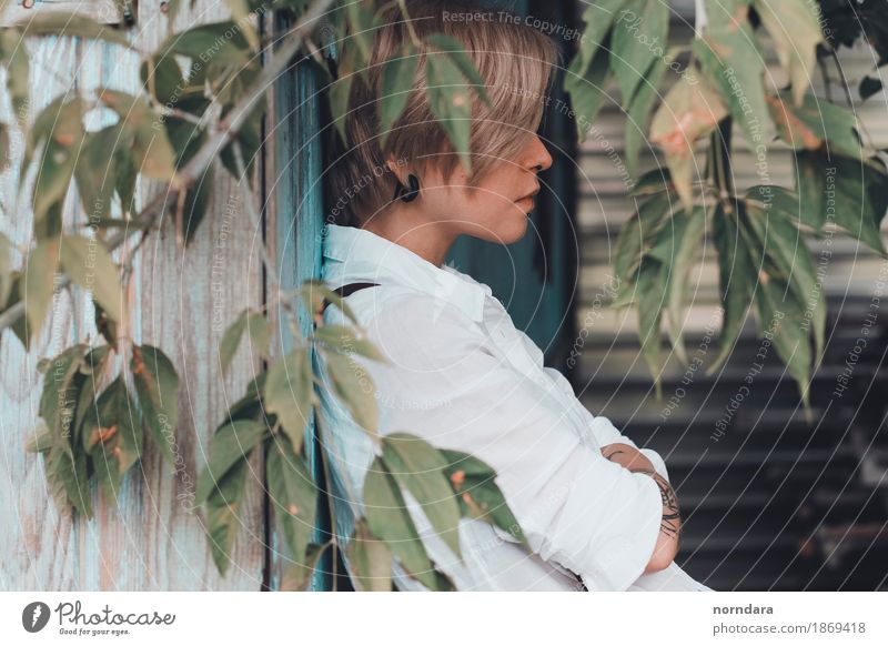 portrait in profile Human being Youth (Young adults) Young man Leaf Wood Think Hair and hairstyles Blonde Near Strong Jewellery Shirt Breathe Earring