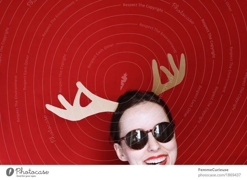ho ho ho Feminine Young woman Youth (Young adults) Woman Adults 18 - 30 years Joy Christmas & Advent Elk Antlers Home-made Cardboard Red Sunglasses Laughter