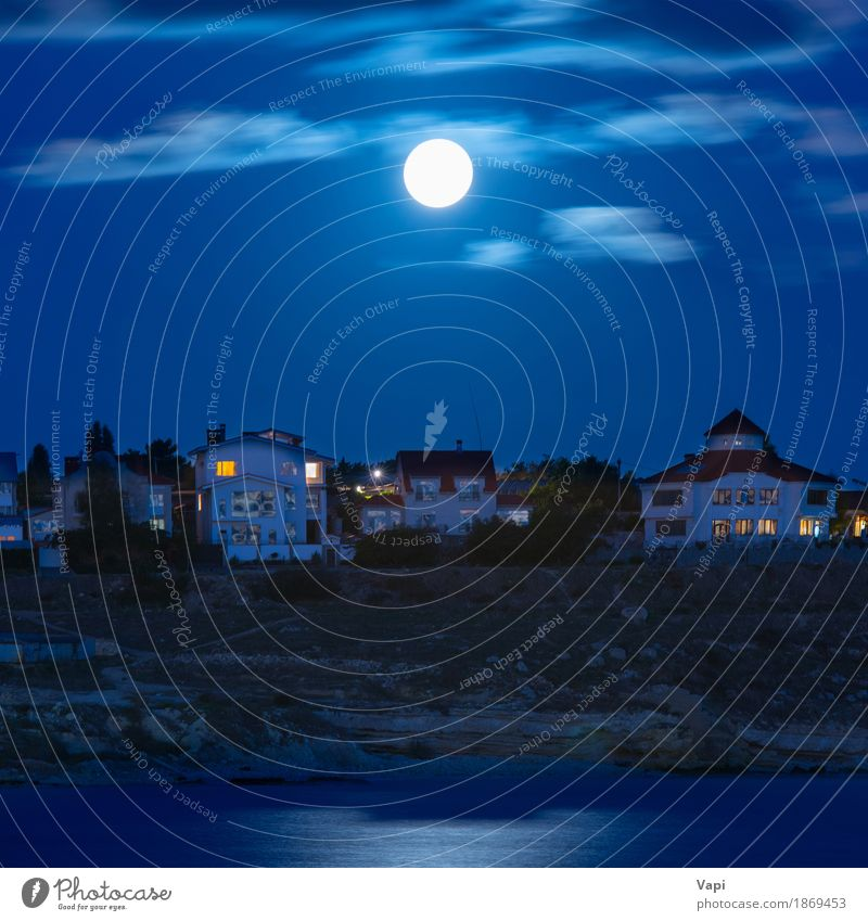 Moon over the river by the town Sky Nature Vacation & Travel Blue Water White Landscape Clouds House (Residential Structure) Window Dark Black Environment Architecture Yellow Building