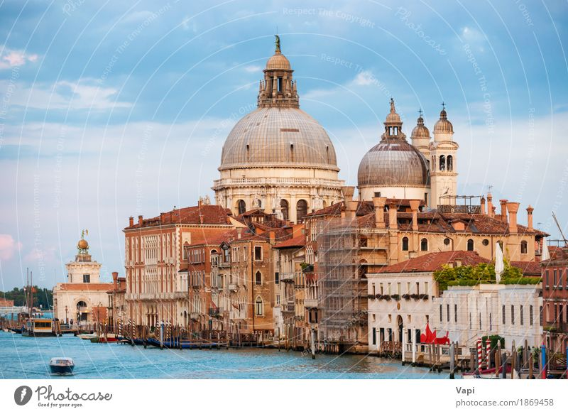 Grand Canal and Basilica Santa Maria in Venice Sky Vacation & Travel Old Blue Summer Town Green Water White Red Clouds House (Residential Structure)