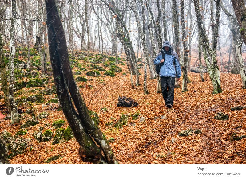 Young man in the autumn forest Human being Nature Vacation & Travel Youth (Young adults) Man Blue Green White Tree Landscape Leaf Forest Black Adults Yellow
