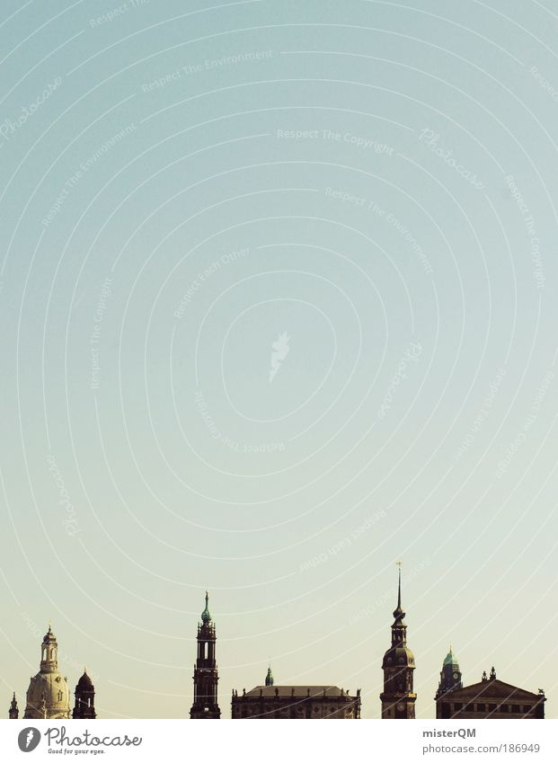 Sky City Art Architecture Glittering Esthetic Church Tower Culture Dresden Skyline Past Silhouette Historic Downtown