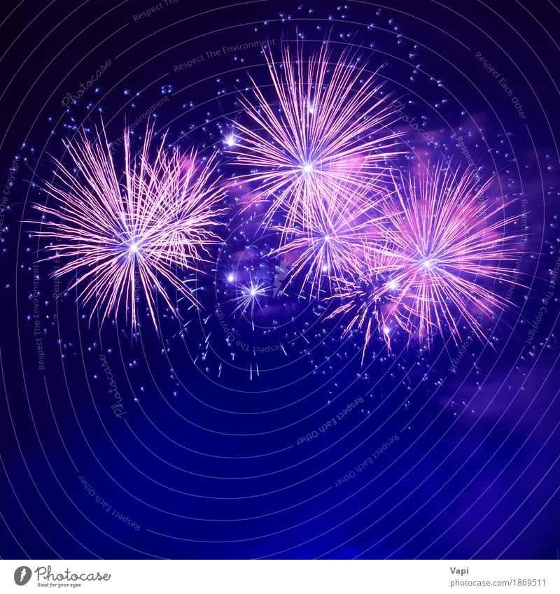 Blue colorful fireworks Sky Christmas & Advent Colour White Red Joy Dark Black Art Freedom Feasts & Celebrations Party Pink Bright Stars