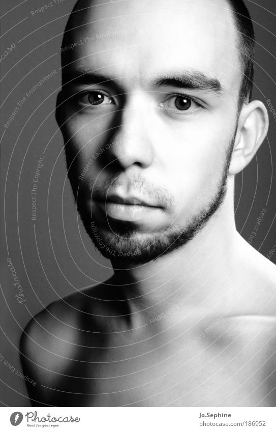 pure Masculine Young man Youth (Young adults) 1 Human being 18 - 30 years Adults Natural Purity Pure Calm Beautiful Facial hair Black & white photo Studio shot