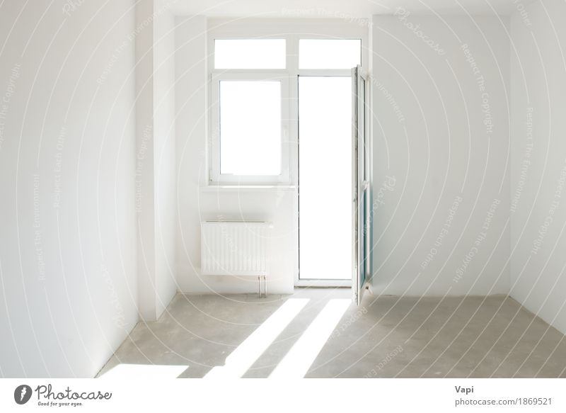 White room with door and window Colour House (Residential Structure) Window Architecture Wall (building) Interior design Style Building Wall (barrier) Gray