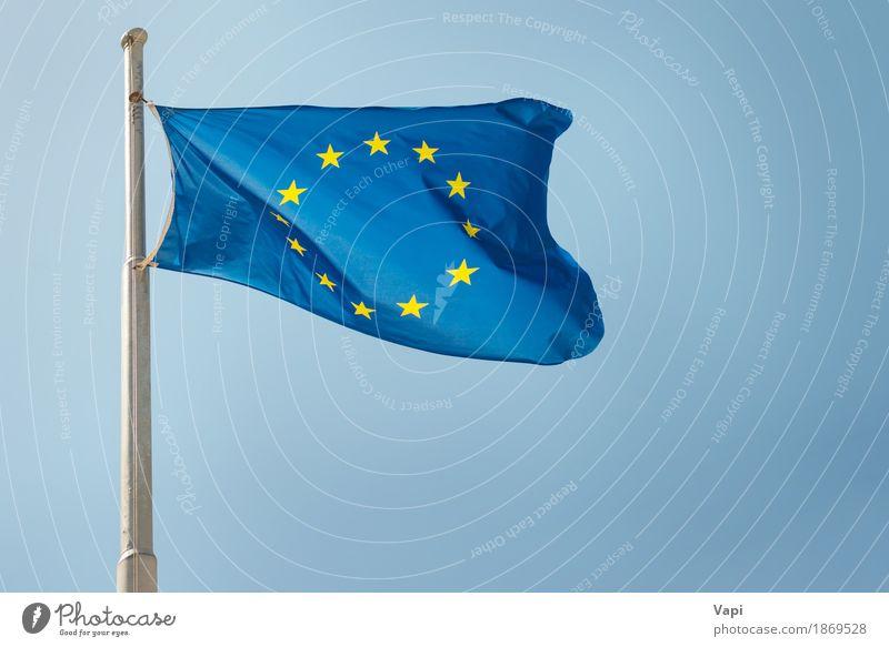Waving European Union EU flag Freedom Sky Cloudless sky Wind Cloth Flag Historic Blue Yellow White Politics and state Attachment eu background
