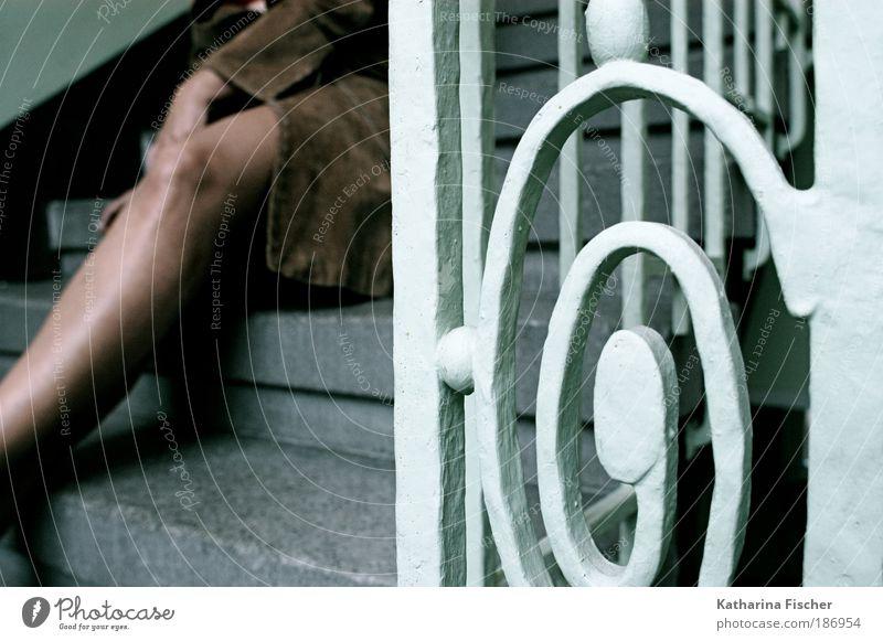 Human being Woman Green Beautiful Black Adults Feminine Gray Legs Art Brown Break Creativity Staircase (Hallway) Leather Photo shoot