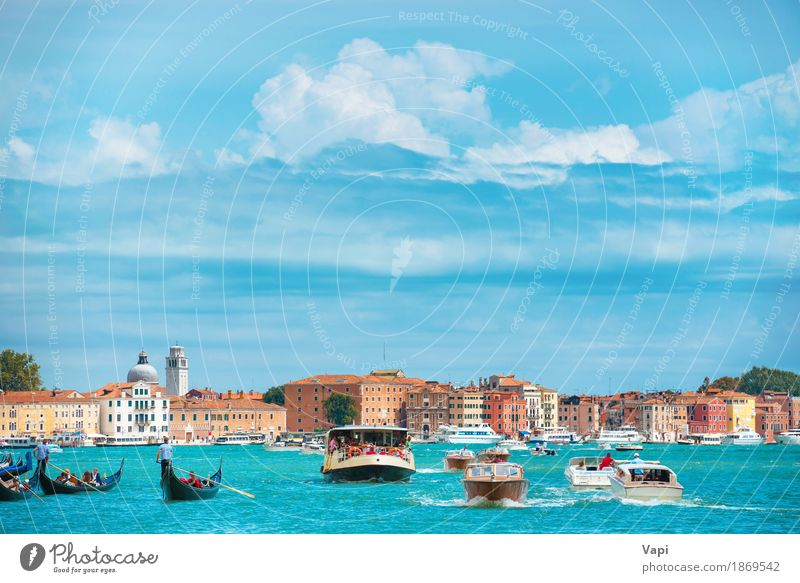 Grand Canal in Venice Sky Vacation & Travel Blue Summer Town Water White Landscape Clouds House (Residential Structure) Black Architecture Yellow Coast Building Group
