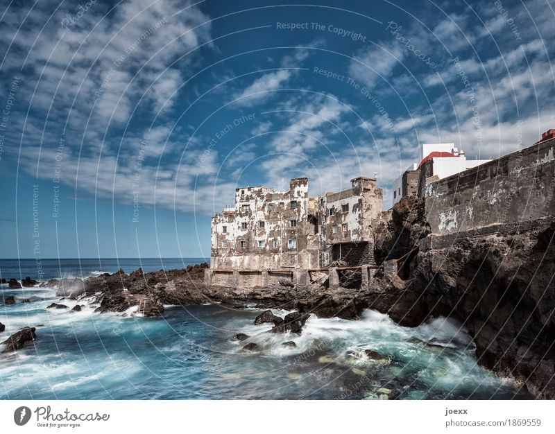 vintage Water Sky Clouds Summer Beautiful weather Rock Waves Coast Ocean Spain Old town House (Residential Structure) Wall (barrier) Wall (building) Facade