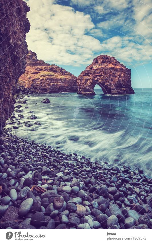 collector Landscape Sky Clouds Beautiful weather Rock Waves Coast Ocean Stone Gigantic Large Blue Brown White Bizarre Nature Vacation & Travel Colour photo