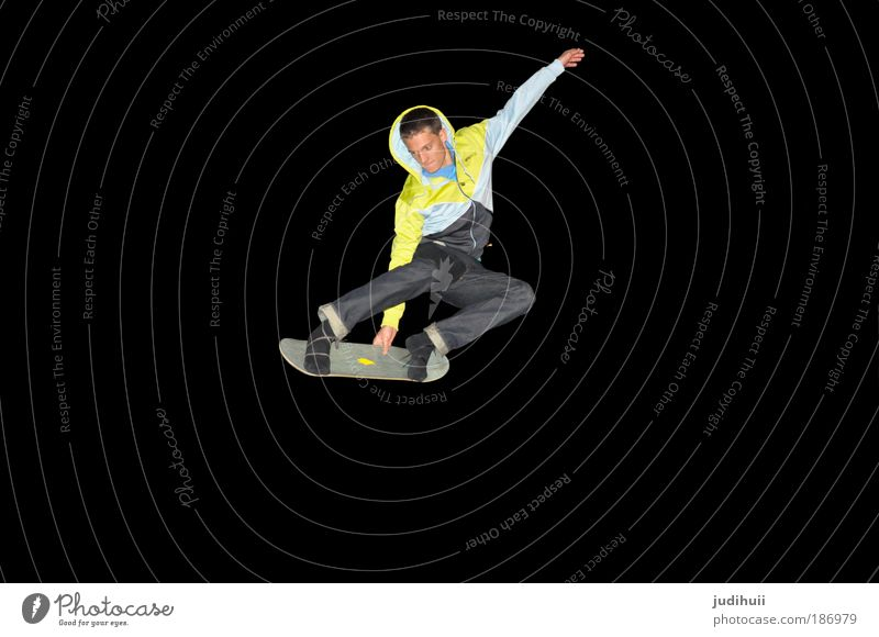 Human being Youth (Young adults) Joy Black Yellow Sports Movement Contentment Healthy Masculine Flying Skateboarding Brave Athletic