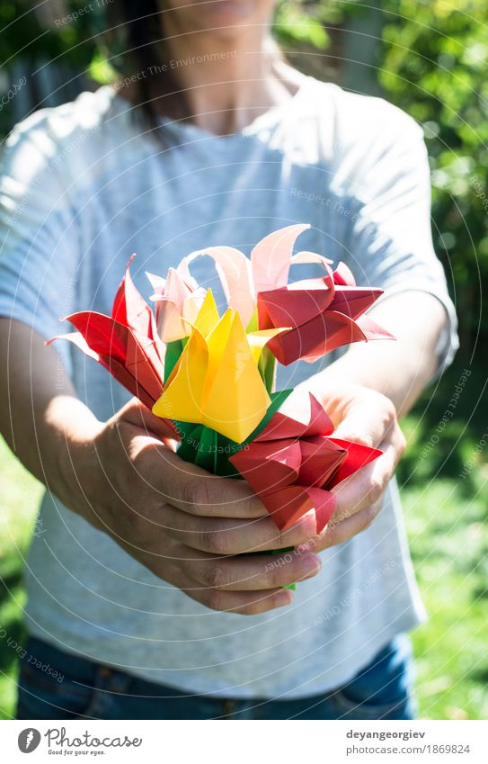 Woman hold bouquet of origami flowers Design Decoration Craft (trade) Hand Art Nature Flower Tulip Paper Bouquet Yellow Pink Red White Colour Origami
