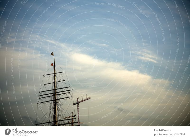Blue Calm Loneliness Above Wood Elegant Tall Construction site Flag Harbour Long Steel Beautiful weather Navigation Mast Repair