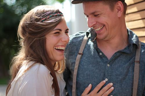 haha Wedding Shirt Suspenders Hairband Hat Cap Brunette Long-haired Touch Laughter Stand Hip & trendy Beautiful Funny Near Blue Brown Joy Happy Trust