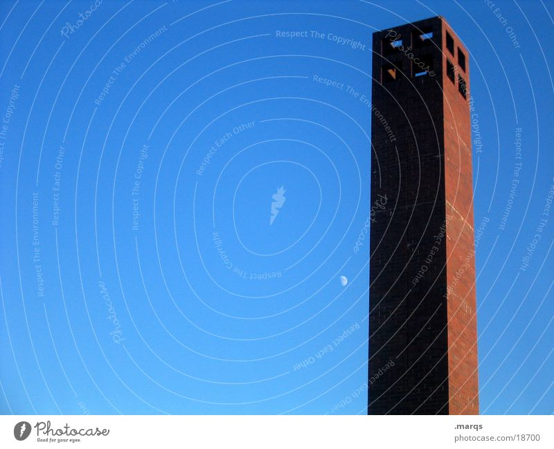 minimum Light Red Loneliness Simple Architecture Art Culture Celestial bodies and the universe Tower Shadow Sky Blue Clarity Moon