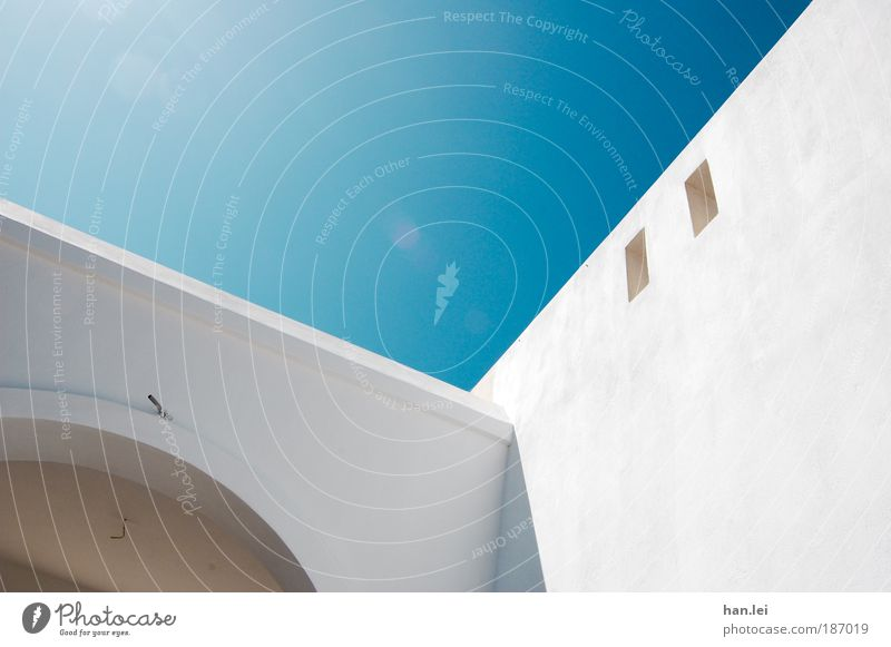 simple 2 Colour photo Deserted Copy Space right Sky Sunlight Sunbeam Blue White Shadow House (Residential Structure) Wall (building) Vacation & Travel