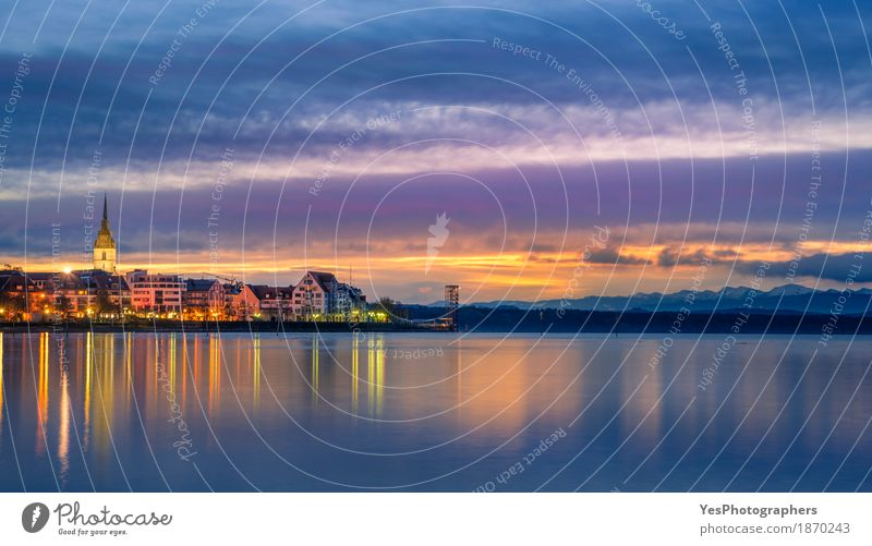 Sunrise over a town and a lake Vacation & Travel Summer Nature Landscape Sky Horizon Sunset Coast Lake Town Skyline Dream Blue Inspiration Bodensee Germany calm