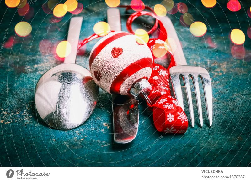 Cutlery with ball and bow for Christmas dinner Nutrition Banquet Knives Fork Spoon Style Design Joy Winter Decoration Party Event Restaurant