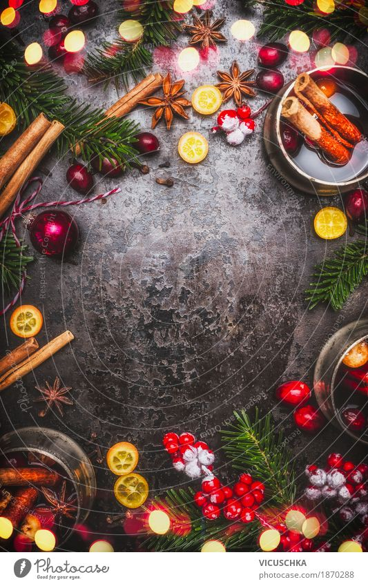 Christmas & Advent Winter Style Food Feasts & Celebrations Party Moody Design Fruit Decoration Retro Happiness Table Herbs and spices Beverage Event