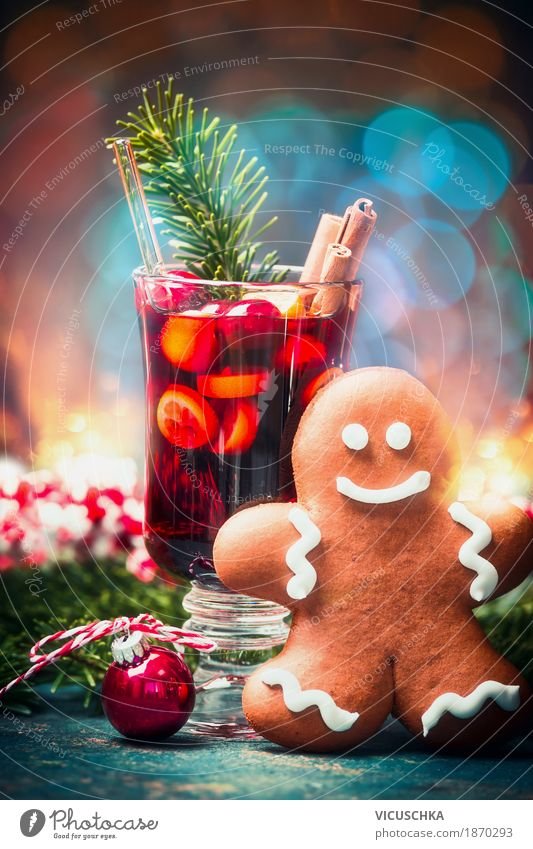 cup mulled wine and gingerbread man Candy Banquet Beverage Hot drink Wine Mulled wine Cup Style Design Joy Winter Decoration Table Party Event