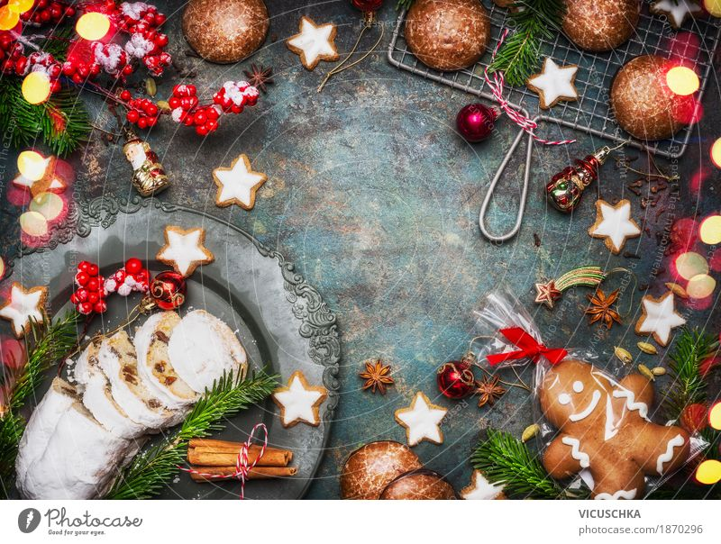 Christmas biscuits with decoration Food Dough Baked goods Dessert Candy Nutrition Dinner Banquet Crockery Style Design Joy Winter Decoration Table Party Event