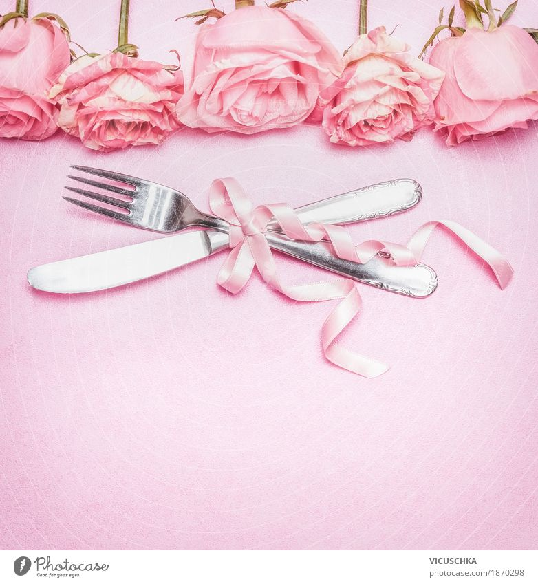 Romantic table set with pink roses, cutlery and ribbon Banquet Cutlery Style Design Living or residing Decoration Restaurant Feasts & Celebrations