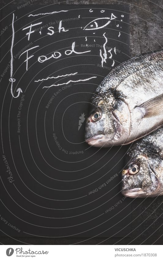 Fisch Essen, text on black board background Food Fish Nutrition Organic produce Diet Style Design Healthy Eating Restaurant Background picture Dorado Text