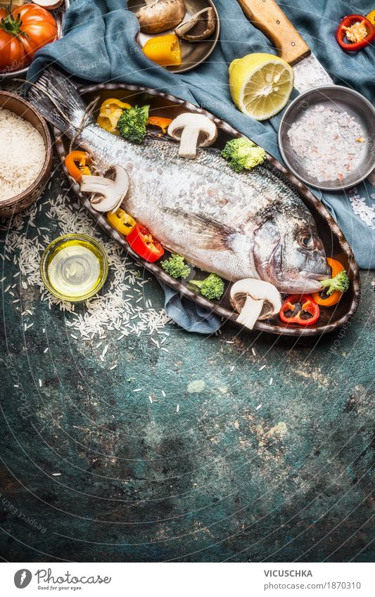 Dorado baked fish and vegetables Food Fish Vegetable Herbs and spices Nutrition Lunch Dinner Buffet Brunch Banquet Organic produce Diet Crockery Knives Style