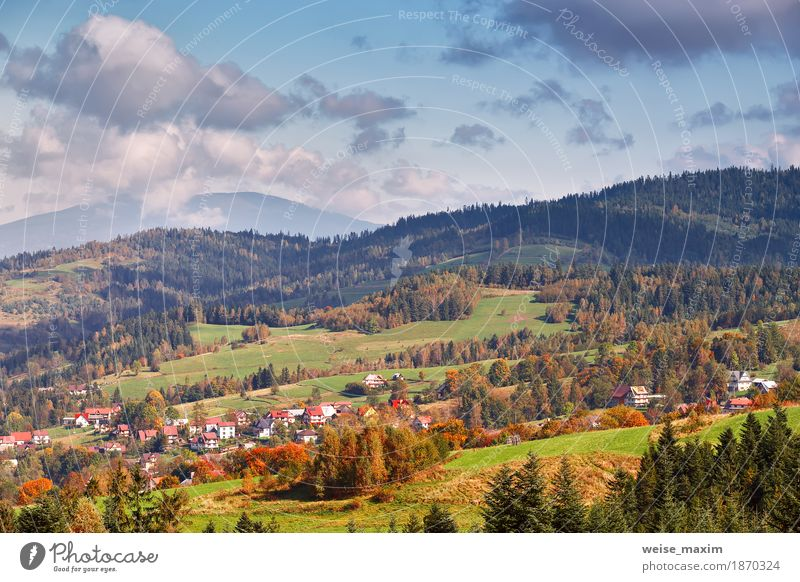 Poland autumn hills. Sunny October day in mountain village Sky Nature Vacation & Travel Blue Summer Green Tree Landscape Clouds House (Residential Structure) Far-off places Forest Mountain Environment Yellow Lanes & trails