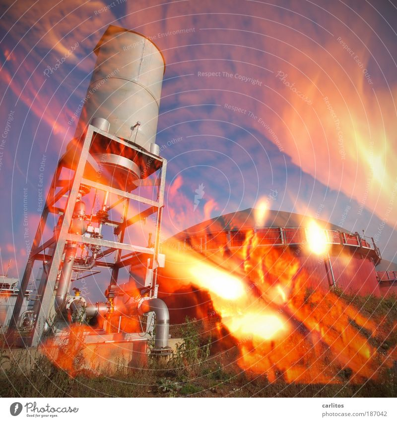 Red Blaze Energy industry Future Threat Tower Hot Solar Power Burn Chaos Accident Double exposure Environmental pollution Climate change Fire department