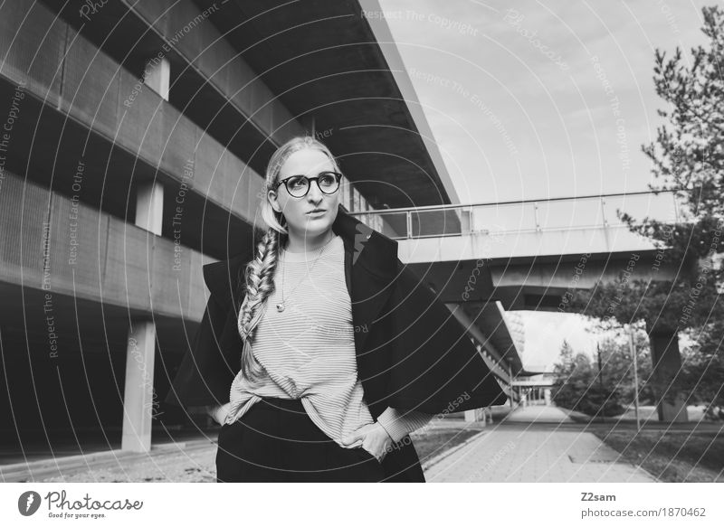 Walk on. Elegant Style Human being Feminine Young woman Youth (Young adults) 1 18 - 30 years Adults Bridge Parking garage Architecture Fashion Eyeglasses