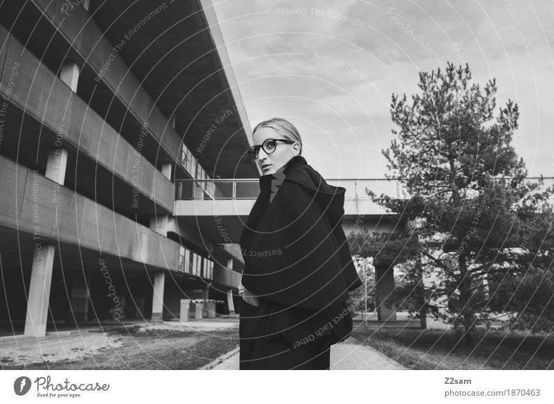 Shoulder look. Elegant Style Human being Feminine Young woman Youth (Young adults) 1 18 - 30 years Adults Tree Bridge Parking garage Architecture Fashion Jacket