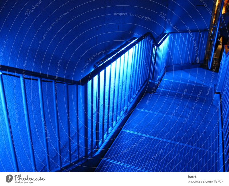 Blue stairs Neon light Night Grating Long exposure Stairs